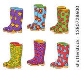 Rubber Boots Colorful Doodle...