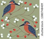 bird and flower seamless pattern | Shutterstock .eps vector #1380748409