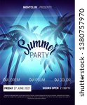 summer disco poster with palm... | Shutterstock .eps vector #1380757970