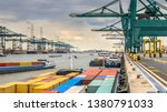 Loaded Ships In Busy Port Of...