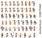 set of happy office man | Shutterstock .eps vector #138079484