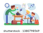 chemistry lesson in classroom... | Shutterstock .eps vector #1380798569
