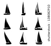 yachts silhouettes set | Shutterstock .eps vector #138082910