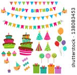 birthday set | Shutterstock .eps vector #138083453