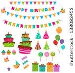 birthday set | Shutterstock .eps vector #138083453