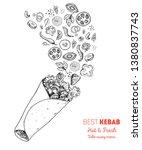 doner kebab and ingredients for ...   Shutterstock .eps vector #1380837743