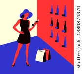 wine shopping. woman in a wine... | Shutterstock .eps vector #1380874370