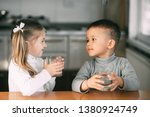 children boy and girl in the... | Shutterstock . vector #1380924749