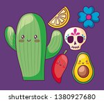 cactus with avocado and set... | Shutterstock .eps vector #1380927680