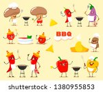 funny kawaii cartoon vegetables ... | Shutterstock .eps vector #1380955853