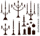 vector silhouettes of candles | Shutterstock .eps vector #138102890