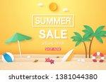 summer sale   beach with... | Shutterstock .eps vector #1381044380