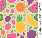 a collection of fruits and... | Shutterstock .eps vector #1381064789