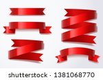 red ribbon  vector art and... | Shutterstock .eps vector #1381068770
