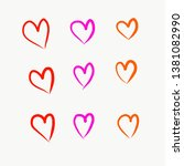 hand drawn colorful hearts... | Shutterstock . vector #1381082990