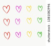hand drawn colorful hearts... | Shutterstock . vector #1381082996