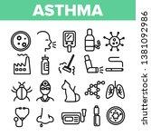 asthma illness vector thin line ... | Shutterstock .eps vector #1381092986
