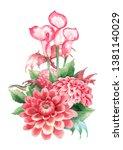 tiny watercolor dragons hidden...   Shutterstock . vector #1381140029