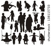 Stock vector children silhouettes 138115733