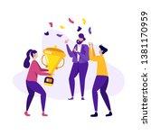 successful teamwork business... | Shutterstock .eps vector #1381170959