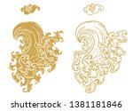 line thai wave tattoo.japanese... | Shutterstock .eps vector #1381181846