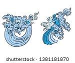 line thai wave tattoo.japanese... | Shutterstock .eps vector #1381181870