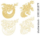 line thai wave tattoo.japanese... | Shutterstock .eps vector #1381181879