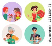 four happy icons with flower...   Shutterstock . vector #1381200476