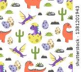 dinosaur seamless pattern... | Shutterstock . vector #1381201943