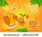 orange fruit cartoon holding a...   Shutterstock .eps vector #1381232249