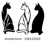 elegant sitting cats vector... | Shutterstock .eps vector #138123263