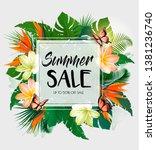 tropical summer sale background ... | Shutterstock .eps vector #1381236740