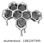 a bee honeycomb dripping with... | Shutterstock .eps vector #1381247390