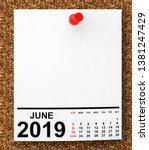 Stock photo calendar june on blank note paper with free space for your text d rendering 1381247429