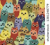 seamless pattern with cats. big ... | Shutterstock .eps vector #1381248779