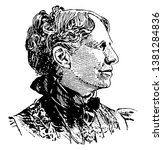 Clara Barton, 1821-1912, she was a teacher and patent clerk and hospital nurse in the American civil war who founded the American red cross, vintage line drawing or engraving illustration