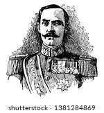Haakon VII, 1872-1957, he was the first king of Norway from 1905 to 1957, vintage line drawing or engraving illustration