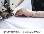 close shot of the hand tailor... | Shutterstock . vector #1381295930