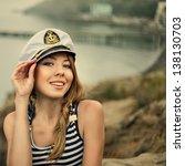 Adorable woman wearing sea...