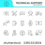 technical support line icon set.... | Shutterstock .eps vector #1381321826