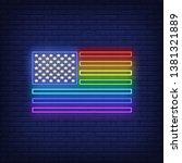 rainbow flag neon sign.... | Shutterstock .eps vector #1381321889