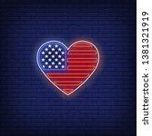 Heart Shaped American Flag Neo...