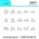 navy line icon set. sea... | Shutterstock .eps vector #1381324673