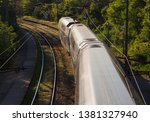city train. top view to train...   Shutterstock . vector #1381327940