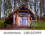 a mushroom house in a forest... | Shutterstock . vector #1381331999