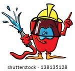 funny cartoon tomato on the...   Shutterstock .eps vector #138135128