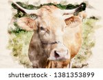 cow with big horns standing on... | Shutterstock . vector #1381353899