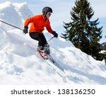 Freeskier In A Downhill