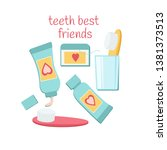 teeth best friends  toothbrush  ... | Shutterstock .eps vector #1381373513