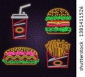 retro neon burger  cola  hot... | Shutterstock .eps vector #1381411526